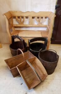 vintage baskets and trugs
